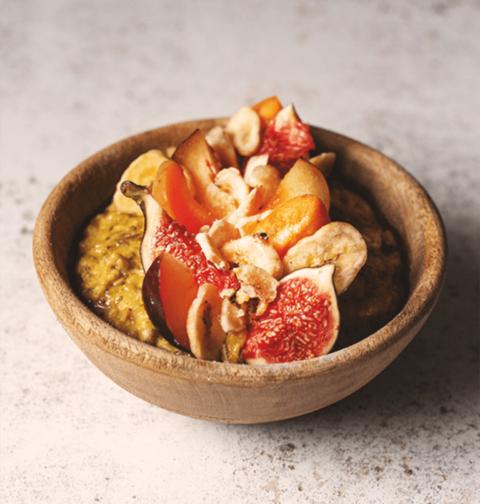 Chia Seed & Ground Turmeric Porridge with Stone Fruit
