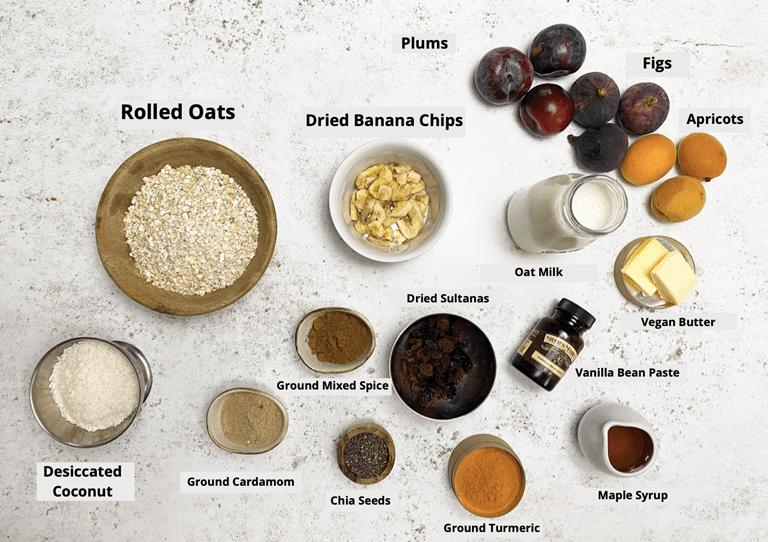 Chia Seed & Ground Turmeric Porridge with Stone Fruit ingredients