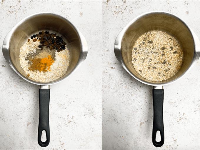 Chia Seed & Ground Turmeric Porridge with Stone Fruit step 1